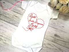 Custom WELSH White Baby vest suit with Dydd Santes Dwynwen heart detail
