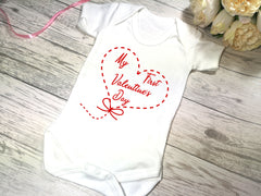 Custom White Baby vest suit with First valentine's day heart detail