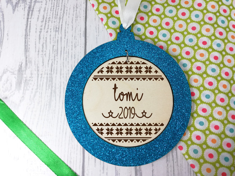 Personalised engraved wooden Stars 2019 Christmas glitter bauble