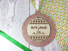 Personalised engraved wooden Stars Teacher 2019 Christmas glitter bauble
