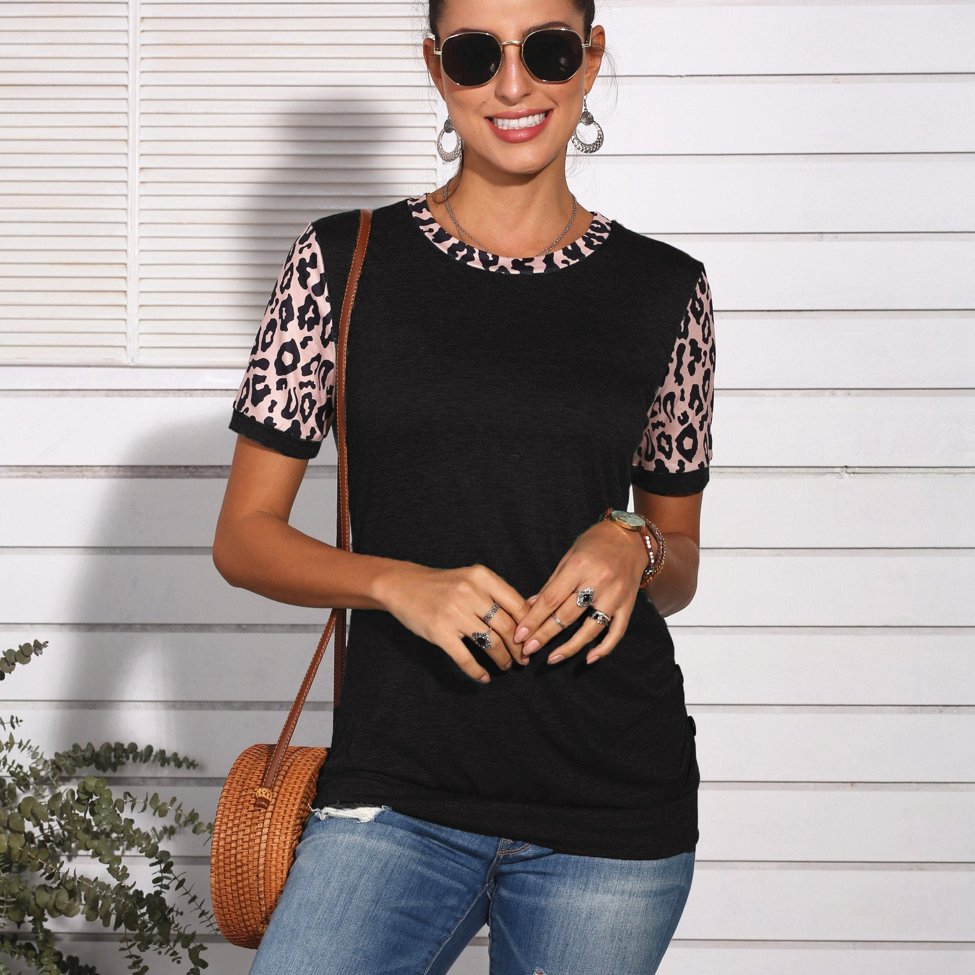 O-neck Patchwork Leopard Printed Short Sleeve T-shirt