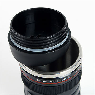 Camera Lens Mug /Travel Coffee and Tea Mug /Black 24-105 MM/ Thermos