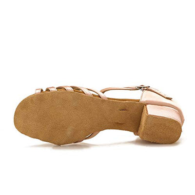 DV Brand  Latin Salsa Dance Shoes  Dancing Sandals S04(7.5,Nude-1.5 Inch Heel)/YOKALA