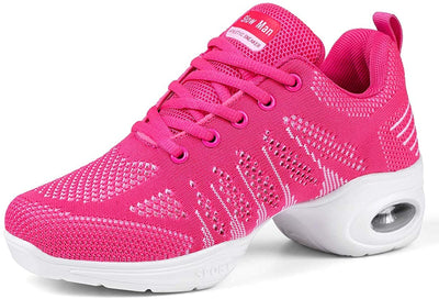 Women's Jazz Shoes Lace-up Sneakers - Breathable Air Cushion Lady Split Sole Athletic Walking Dance Shoes Platform