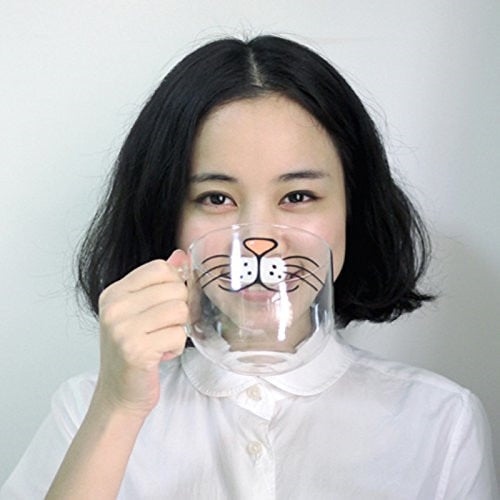 Cat Face Glass Mug 17oz.