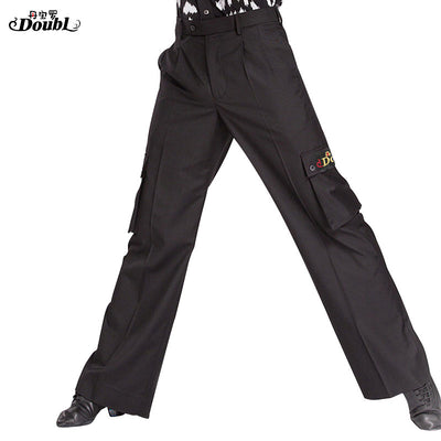 Elegant with 6 pockets Cargo Pants Adult Dance Men's Ballroom Trousers Black/ Double Brand