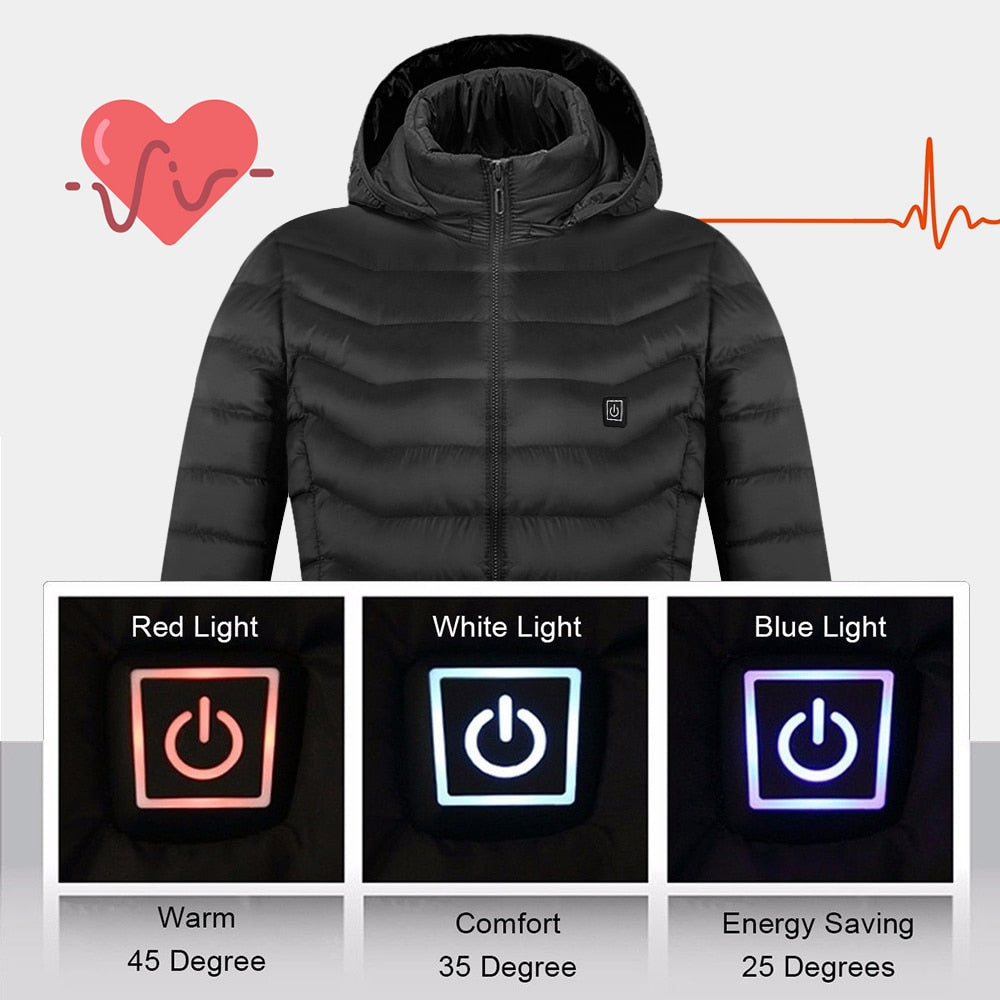 Mens Women Heated outdoor Vest Coat USB Electric Battery with  Long Sleeves