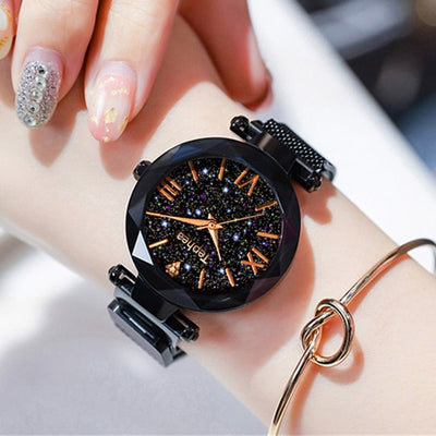 Luxury Women Watch / Magnetic Starry Sky Clock Quartz  Fashion Wrist Watch