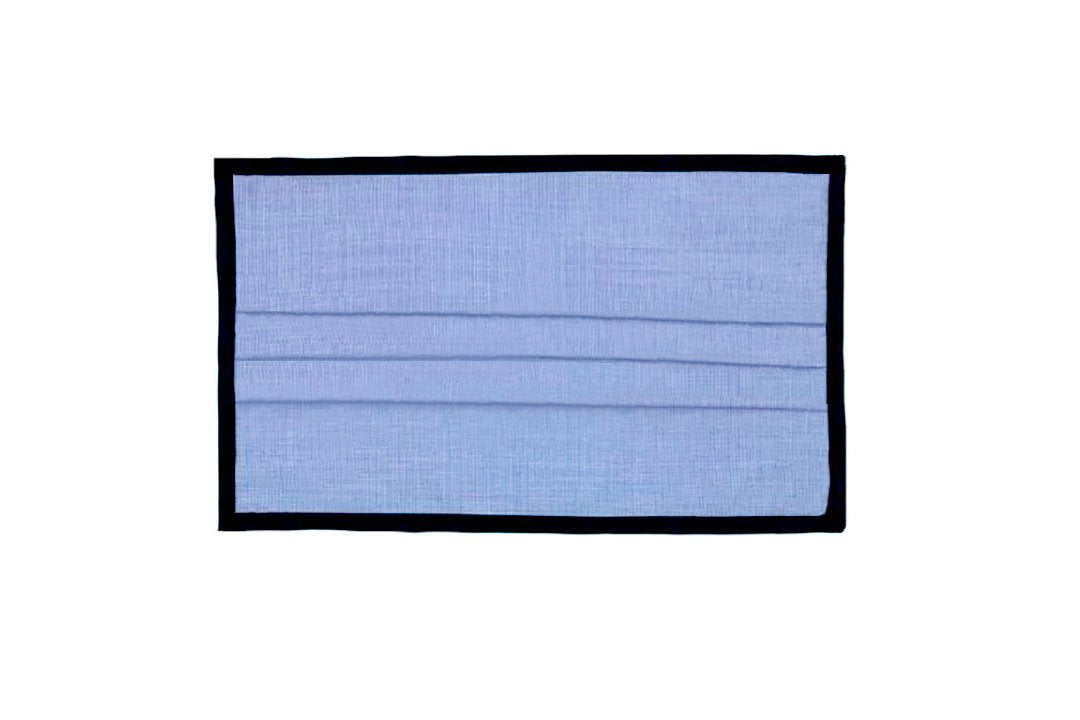Breathable Double-Layer EOE Cotton Fabric, Pleated Face Mask - Solid Light Blue with Black Binding Edges.