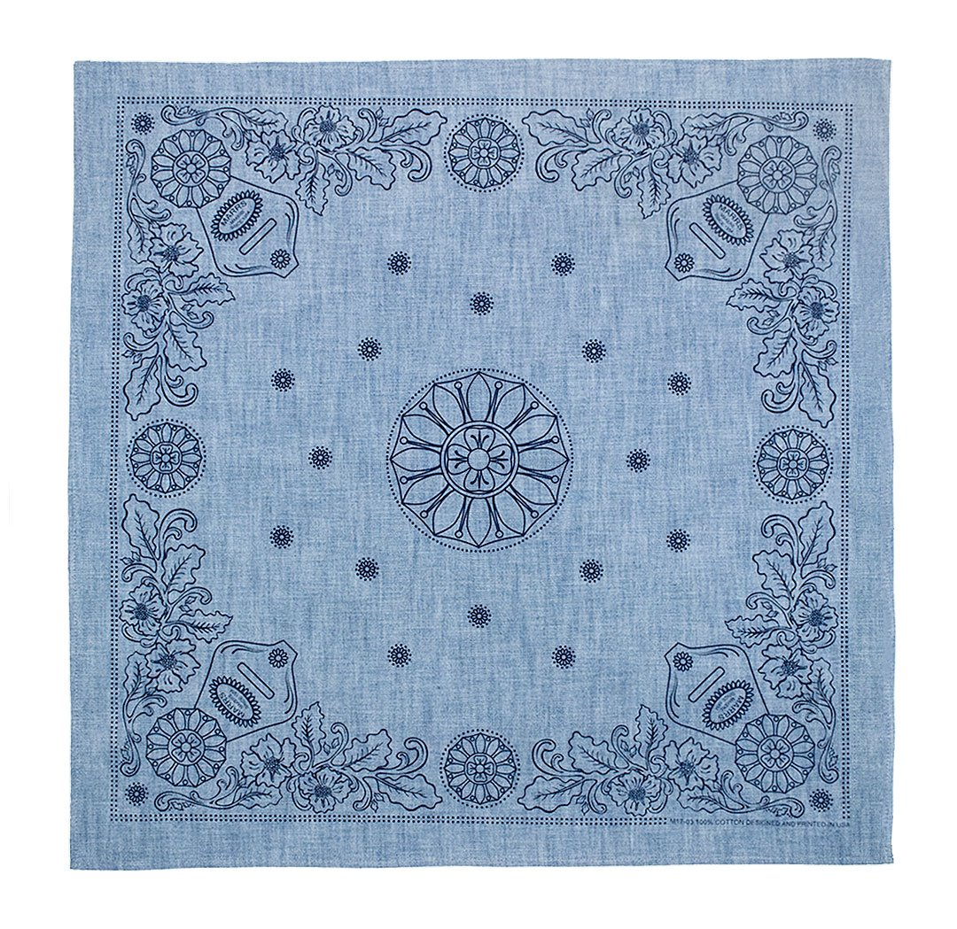 Marrs Makers Riding Bandana - Light Blue Chambray Ground Color with Navy Concho and Floral Design