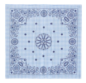 Marrs Makers Riding Bandana - Light Blue/White Gingham Checked Ground Color with Black Concho and Floral Design