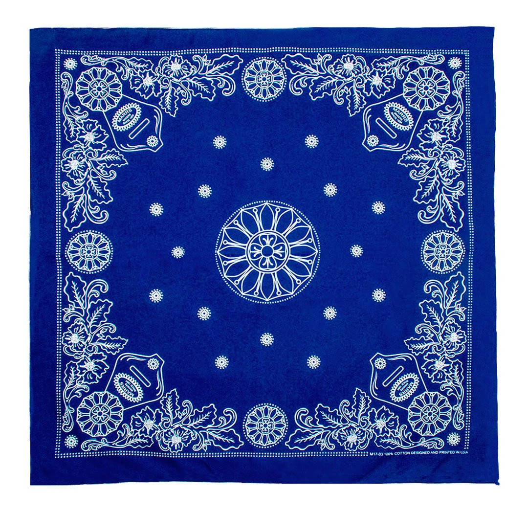 Marrs Makers Riding Bandana - Dark Blue Ground Color with White Concho and Floral Design