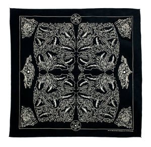 Marrs Makers Riding Bandana - Black Ground Color with Tan  Oak Leaf Design