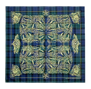 Marrs Makers Riding Bandana - Dark Green Plaid Ground Color with Yellow Oak Leaf Design