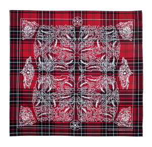 Marrs Makers Riding Bandana - Red Plaid Ground Color with White Oak Leaf Design