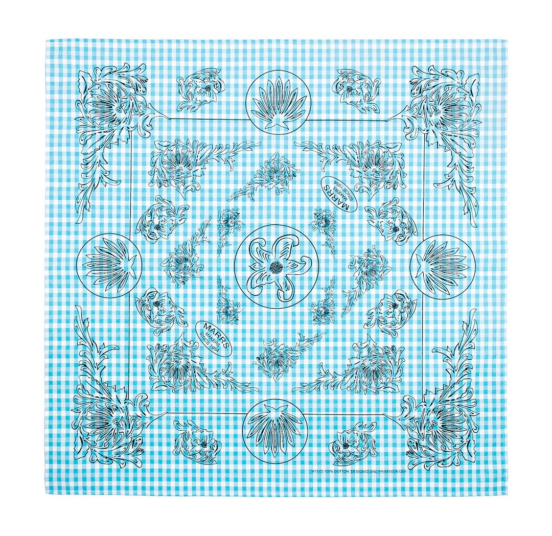 Marrs Makers Riding Bandana - Turquoise Blue/White Gingham Checked Ground Color with Black Poinsettia Floral Design