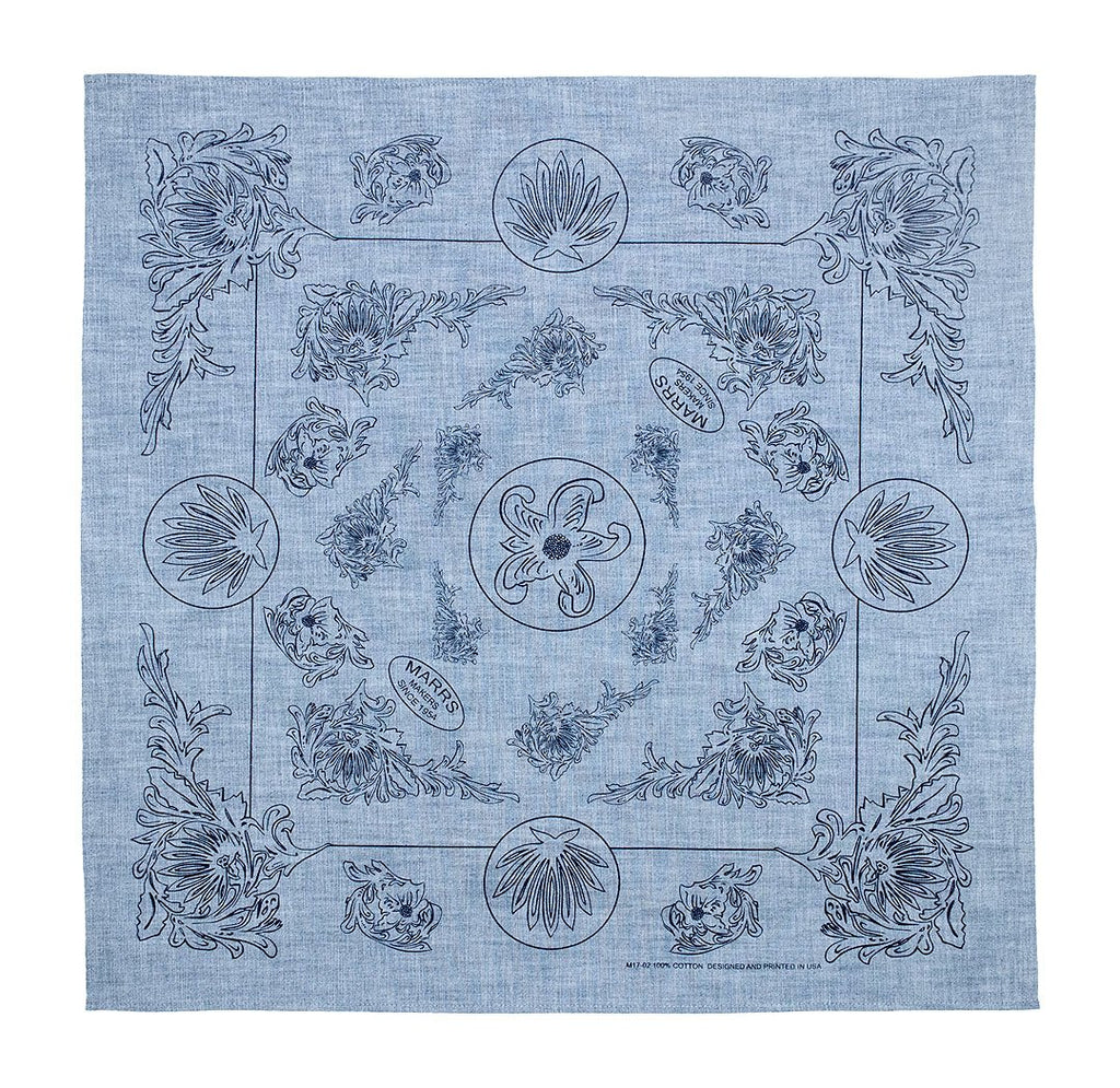 Marrs Makers Riding Bandana - Light Blue Chambray Ground Color with Dark Blue Poinsettia Floral Design