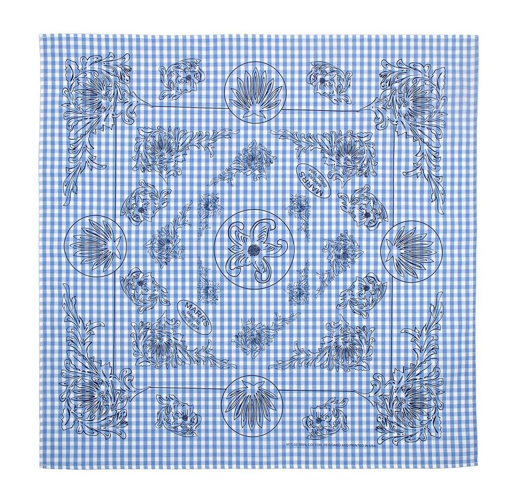 Marrs Makers Riding Bandana - Light Blue/White Gingham Checked Ground Color with Black Poinsettia Floral Design