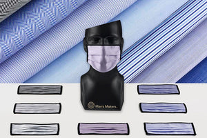 Marrs Makers Face Masks 'The Comeback'. 'Back2Business', Assortment 2 multi-colored, reusable face  masks for office settings. Thomas Mason Cotton Shirting and Brooks Brothers repurposed fabric. Grey and Blue Herringbone Twill, Blue Houndstooth, Blue end-on-end, Blue alternating stripe, Blue nailhead. M20-M004 CMBKB2B. Size Large.