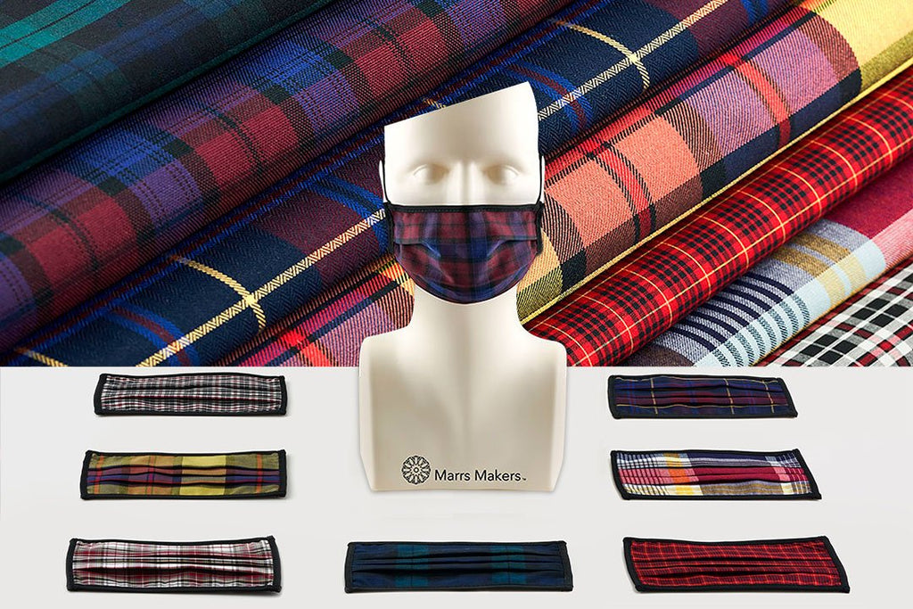 Marrs Makers Face Masks 'The Comeback'. 'Holiday Swagger', Assortment 3 multi-color reusable masks for office settings. Brooks Brothers repurposed plaid fabric. Blackwatch Plaid, Lindsay Tartan, Herringbone Twill, District Check, Royal Stewart Plaids.  M20-M008 CMBKFH. Size Medium.