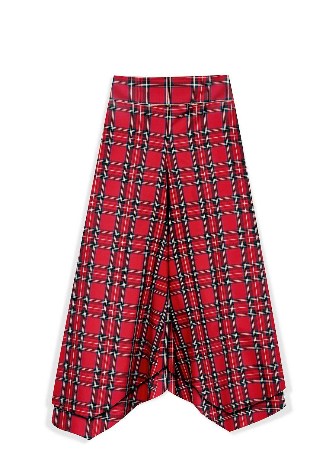 Marrs Makers 'Work-it-from-Anywhere' Pants in Red Tartan Plaid Italian Cotton. Let these pants do the work as you transition from the sofa to errands, an outdoor cafe, then back to video conference. Effortless Elegance. Maximum Breathability. Front View.