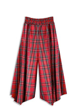 Marrs Makers 'Work-it-from-Anywhere' Pants in Red Tartan Plaid Italian Cotton. Let these pants do the work as you transition from the sofa to errands, an outdoor cafe, then back to video conference. Effortless Elegance. Maximum Breathability. Back View.