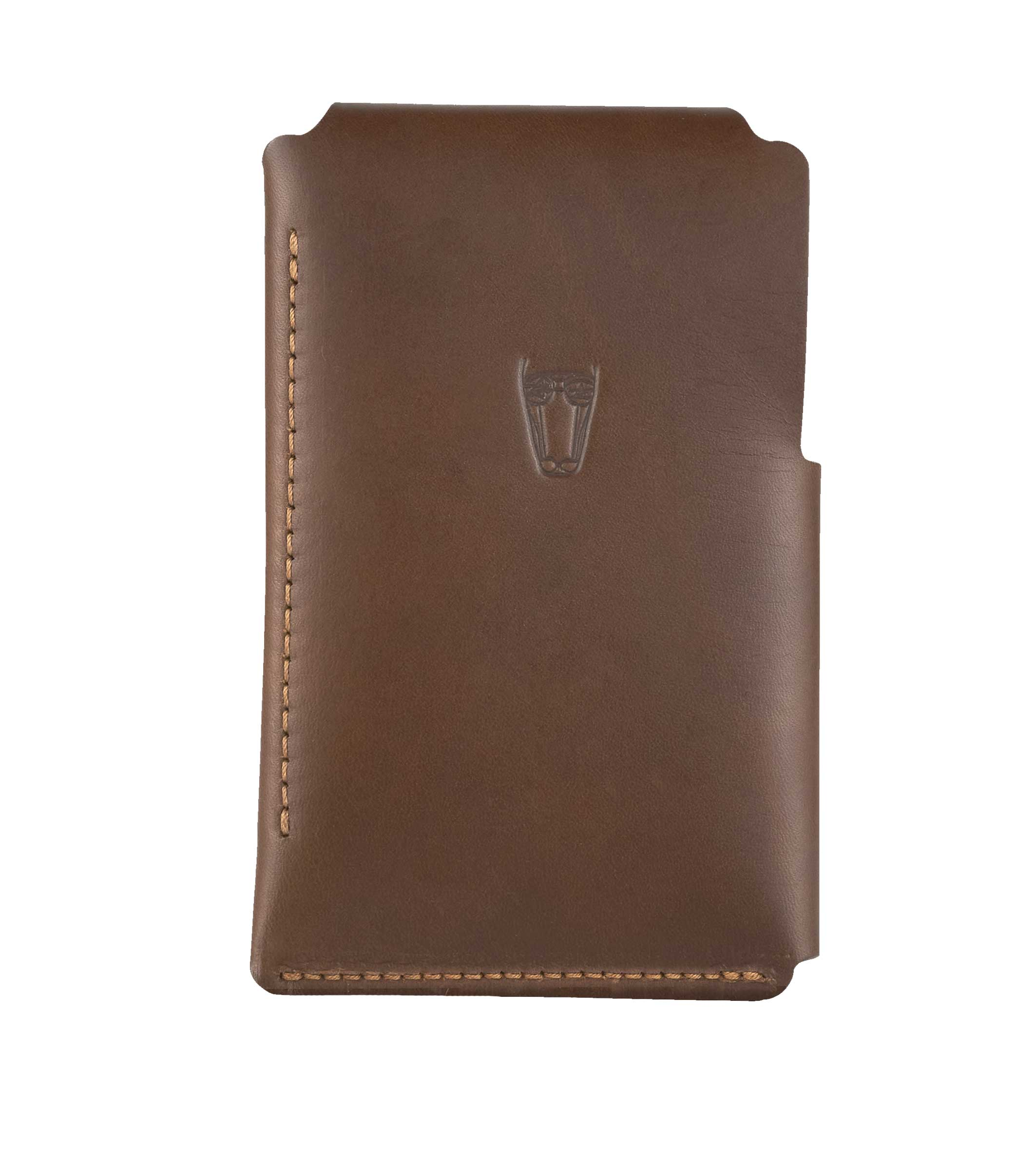 Marrs Makers Cognac Brown Leather Wallet. (Back view as seen in this photo.) Hand-stitched. Embossed Marrs Makers horse mascot on reverse. M20-M002BRN