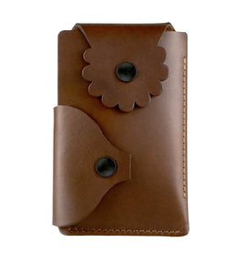Marrs Makers Cognac Brown Leather Wallet. (Front view as seen in this photo.) Hand-stitched. Versatile dual-entry is convenient and secure with metal snap closure on each flap.  M20-M002BRN