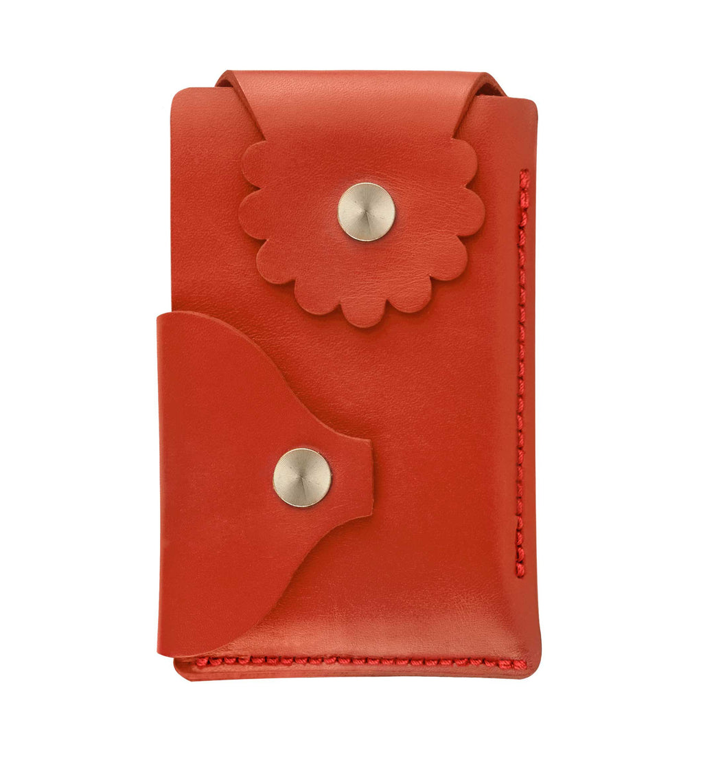 Marrs Makers Empire Red Leather Wallet. (Front view as seen in this photo.) Hand-stitched. Versatile dual-entry is convenient and secure with metal snap closure on each flap.  M20-M007RED