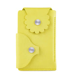 Marrs Makers Marigold Yellow Leather Wallet. (Front view as seen in this photo.) Hand-stitched. Versatile dual-entry is convenient and secure with metal snap closure on each flap.  M20-M003YLW.