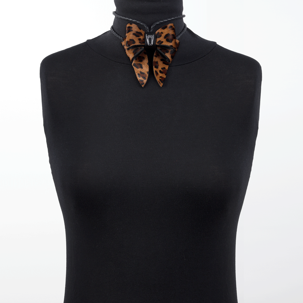 Marrs Makers Leopard Calf Hair Leather Bolo Tie Necklace Worn as Choker on Mannequin.