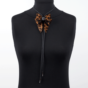 Marrs Makers Leopard Calf Hair Leather Bolo Tie Necklace on Mannequin.