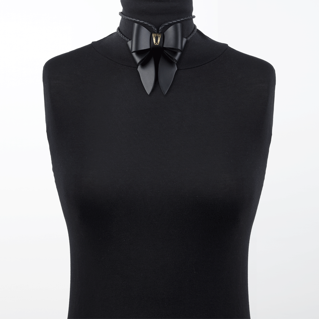Marrs Makers Matte Black Calf Leather Bolo Tie Necklace Worn as Choker on Mannequin.