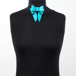 Marrs Makers Turquoise Calf Leather Bolo Tie Necklace Worn as Choker on Mannequin.