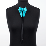 Marrs Makers Turquoise Calf Leather Bolo Tie Necklace on Mannequin.