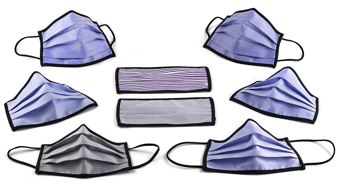 Marrs Makers Face Masks 'The Comeback'. 'Back2Business', Assortment 2 in Thomas Mason Cotton Shirting and Brooks Brothers repurposed fabric. Grey and Blue Herringbone Twill, Blue Houndstooth, Blue end-on-end, Blue alternating stripe, Blue nailhead. M20-M004 CMBKB2B.