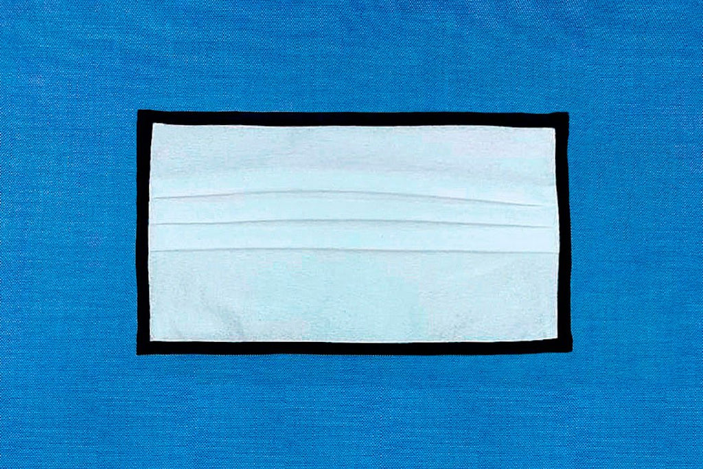 Non-Woven High Filtration Pleated Face Mask - White with Black Binding Edges.