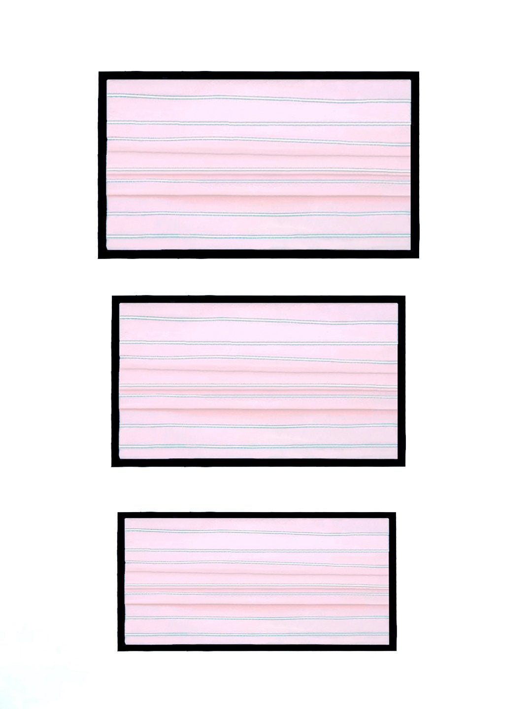 Breathable Double-Layer Supima Cotton Fabric, Pleated Face Mask - Pink/White Stripes with Black Binding Edges. Large, Medium, Small Sizes.
