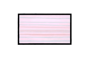 Breathable Double-Layer Supima Cotton Fabric, Pleated Face Mask - Pink/White Stripes with Black Binding Edges.