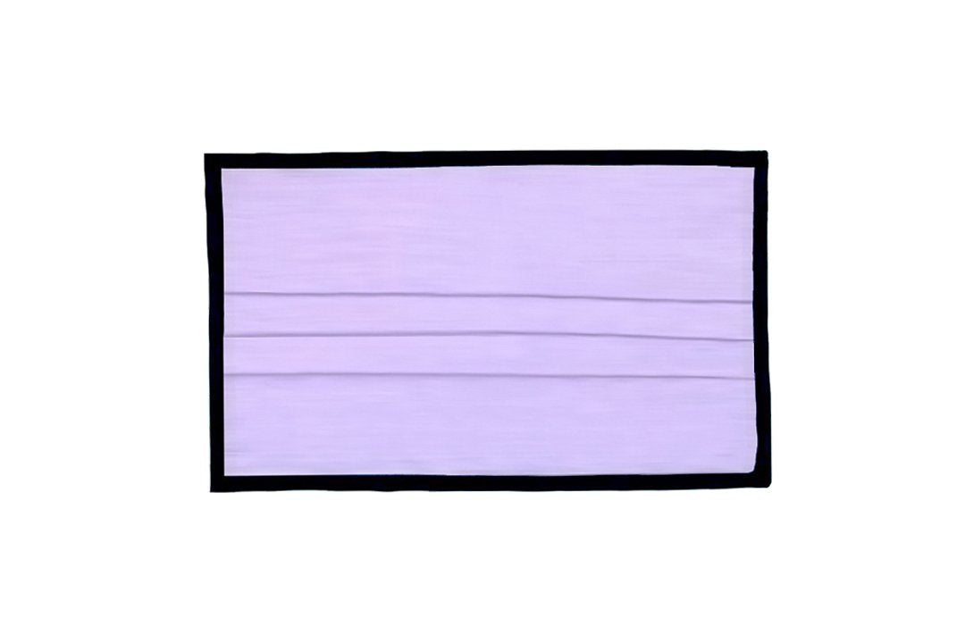 Breathable Double-Layer Supima Cotton Fabric, Pleated Face Mask - Solid Light Purple with Black Binding Edges.
