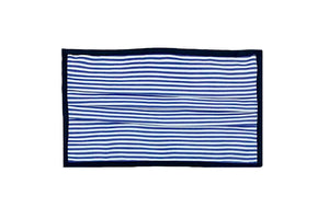 Breathable Double-Layer Supima Cotton Fabric, Pleated Face Mask - White/Blue Stripes with Black Binding Edges.