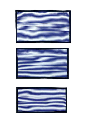 Breathable Double-Layer Supima Cotton Fabric, Pleated Face Mask - White/Blue Stripes with Black Binding Edges. Large, Medium, Small Sizes.