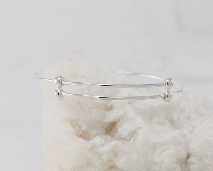 adjustable bangle bracelet silver wrapped around white rock