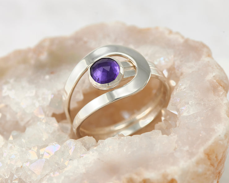 amethyst silver wrap ring in quartz