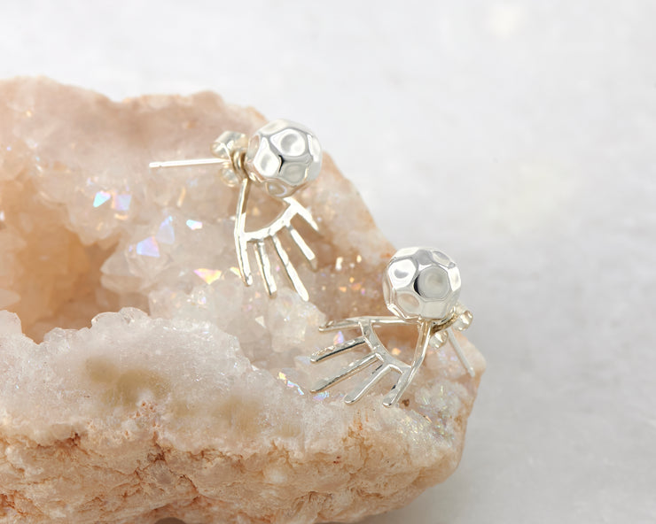 silver hammered ear jacket stud earrings on quartz