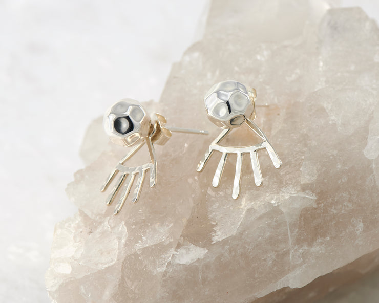 silver hammered ear jacket stud earrings on crystal