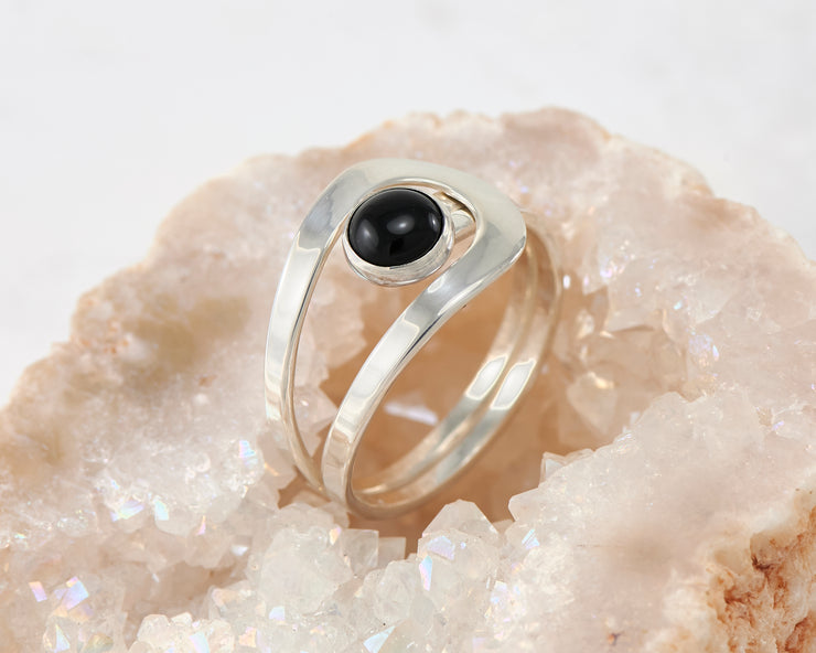 black onyx silver wrap ring in geode