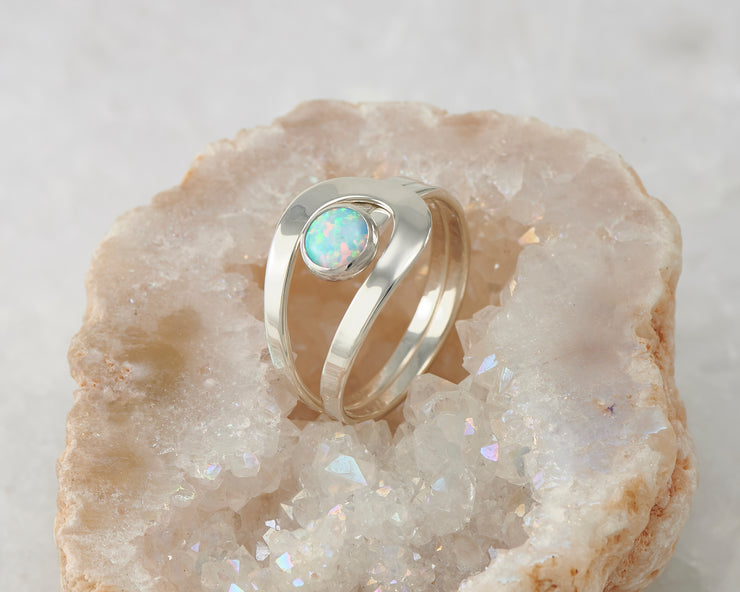 blue opal silver wrap ring in quartz
