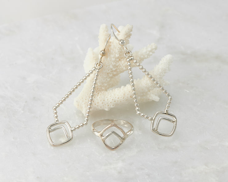 beaded silver geometric earrings and matching ring
