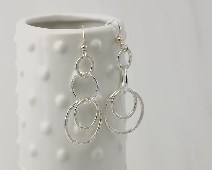 Silver polished hammered circles earrings on dotted vase